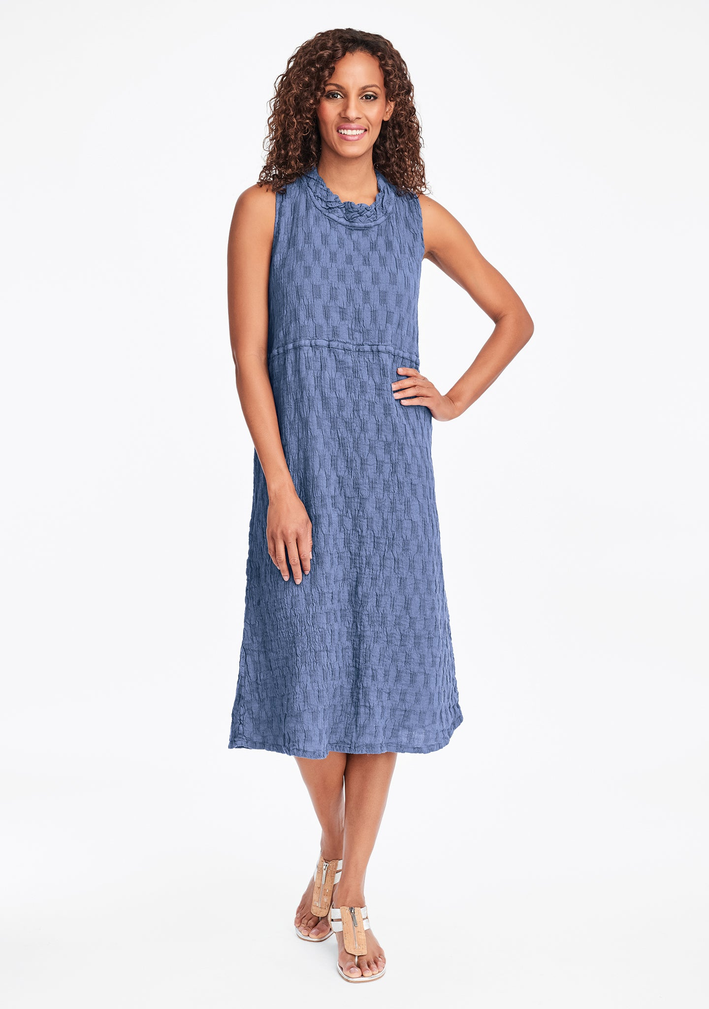 date night dress linen midi dress blue