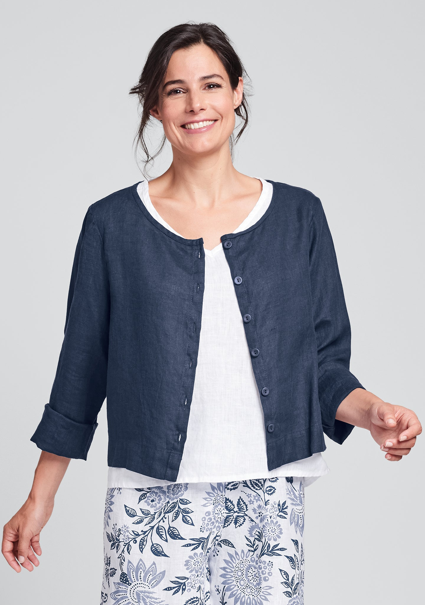 day cardi linen cardigan blue