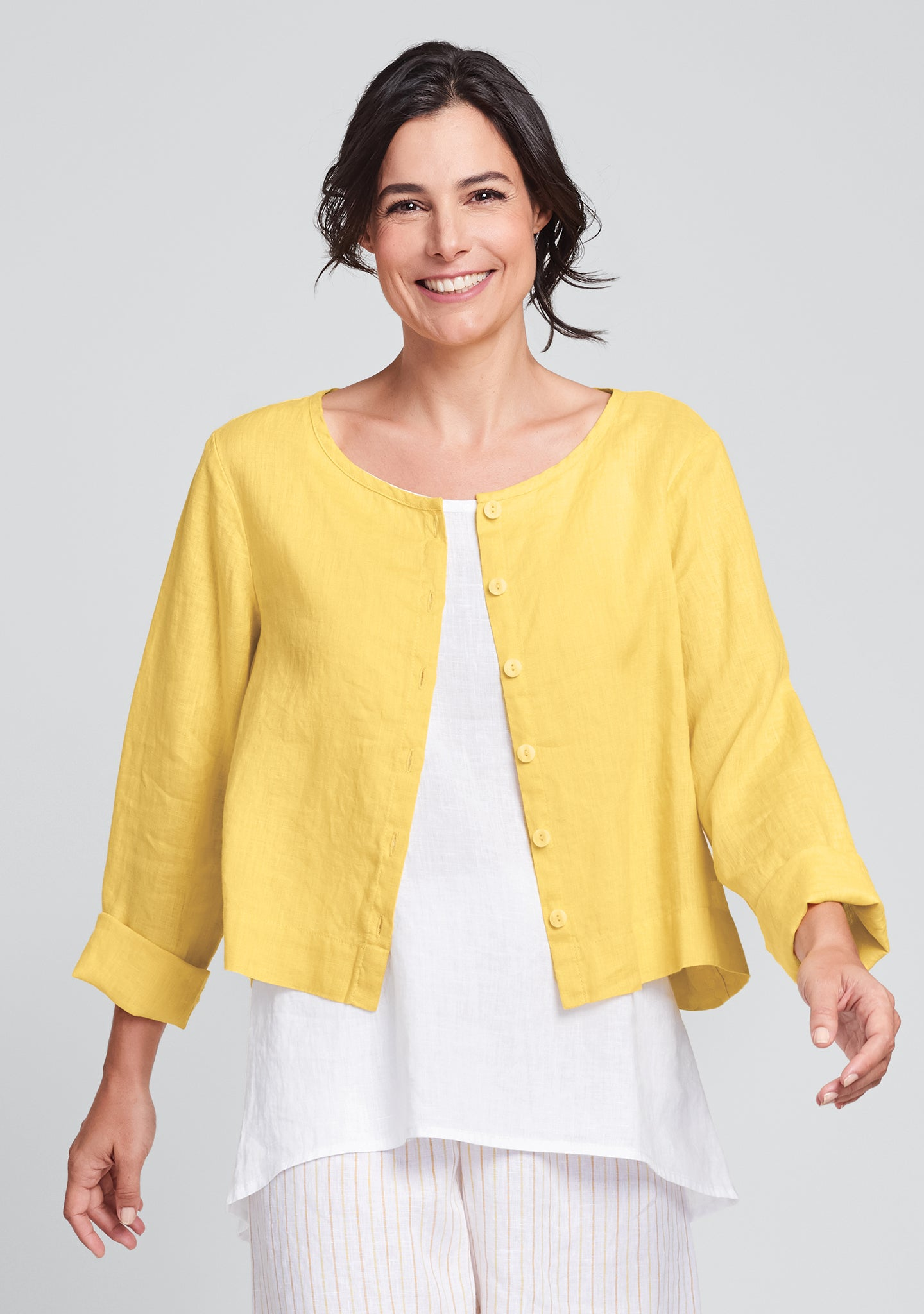 day cardi linen cardigan yellow