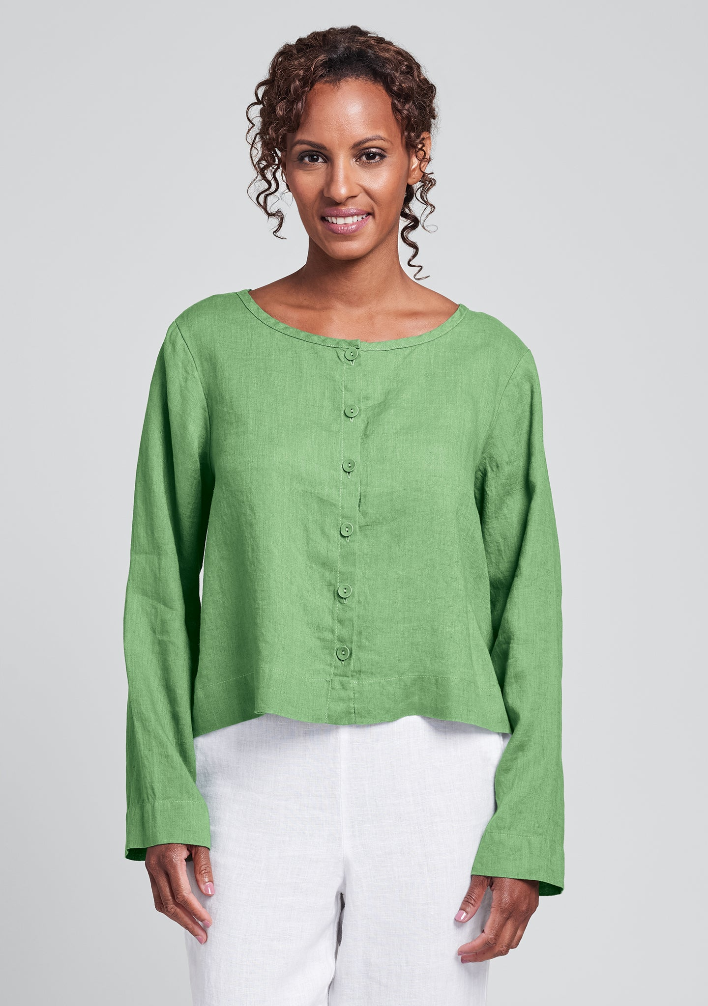 day cardi linen cardigan green