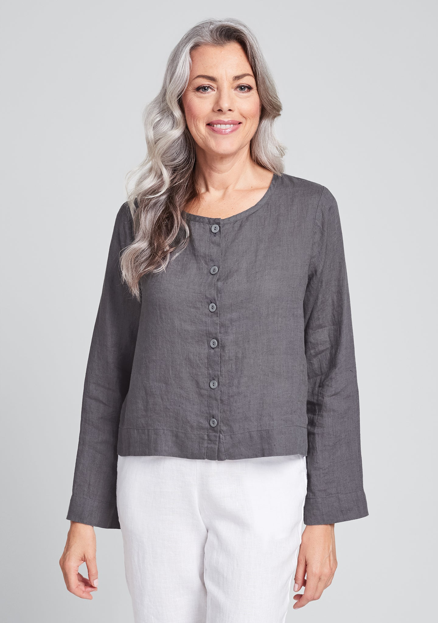 day cardi linen cardigan grey