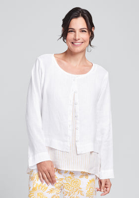 day cardi linen cardigan white