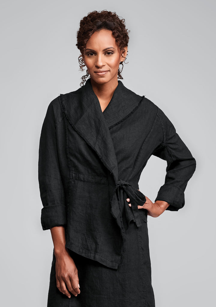 draping jacket linen jacket black