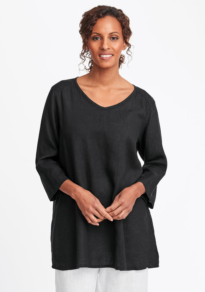 dreamy top linen shirt black
