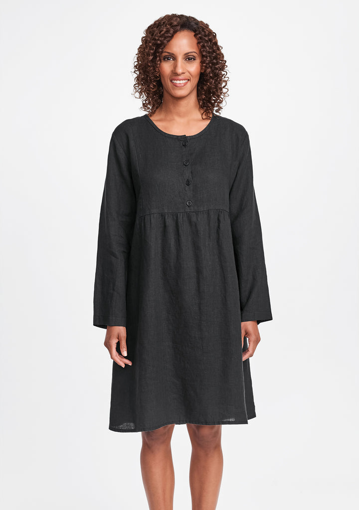 easy dress linen dress black