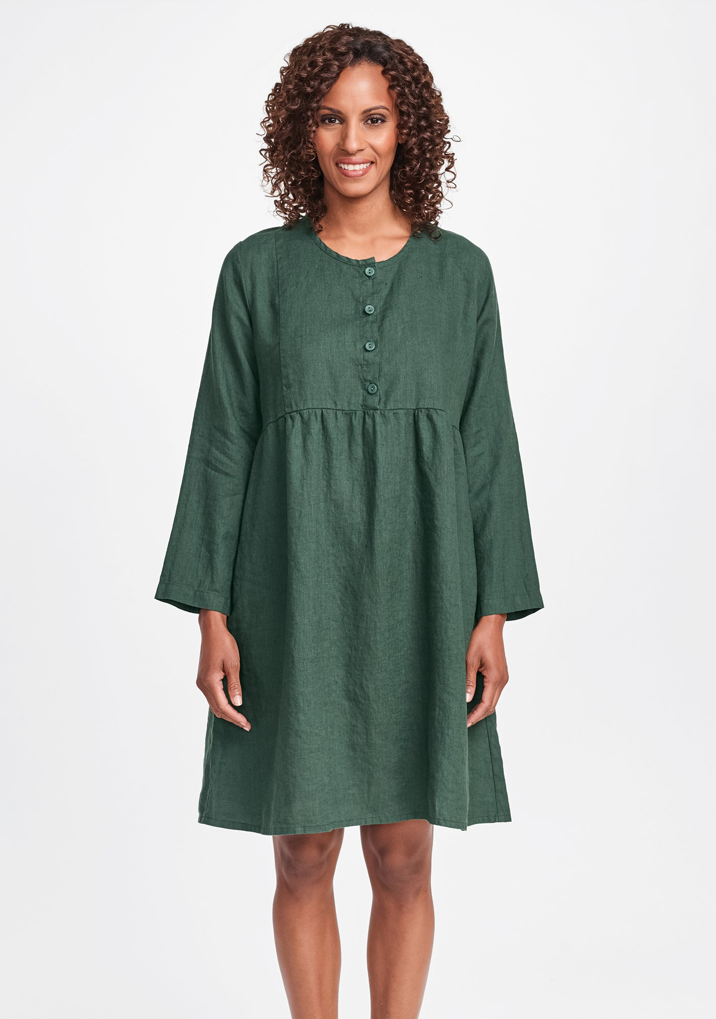easy dress linen dress green