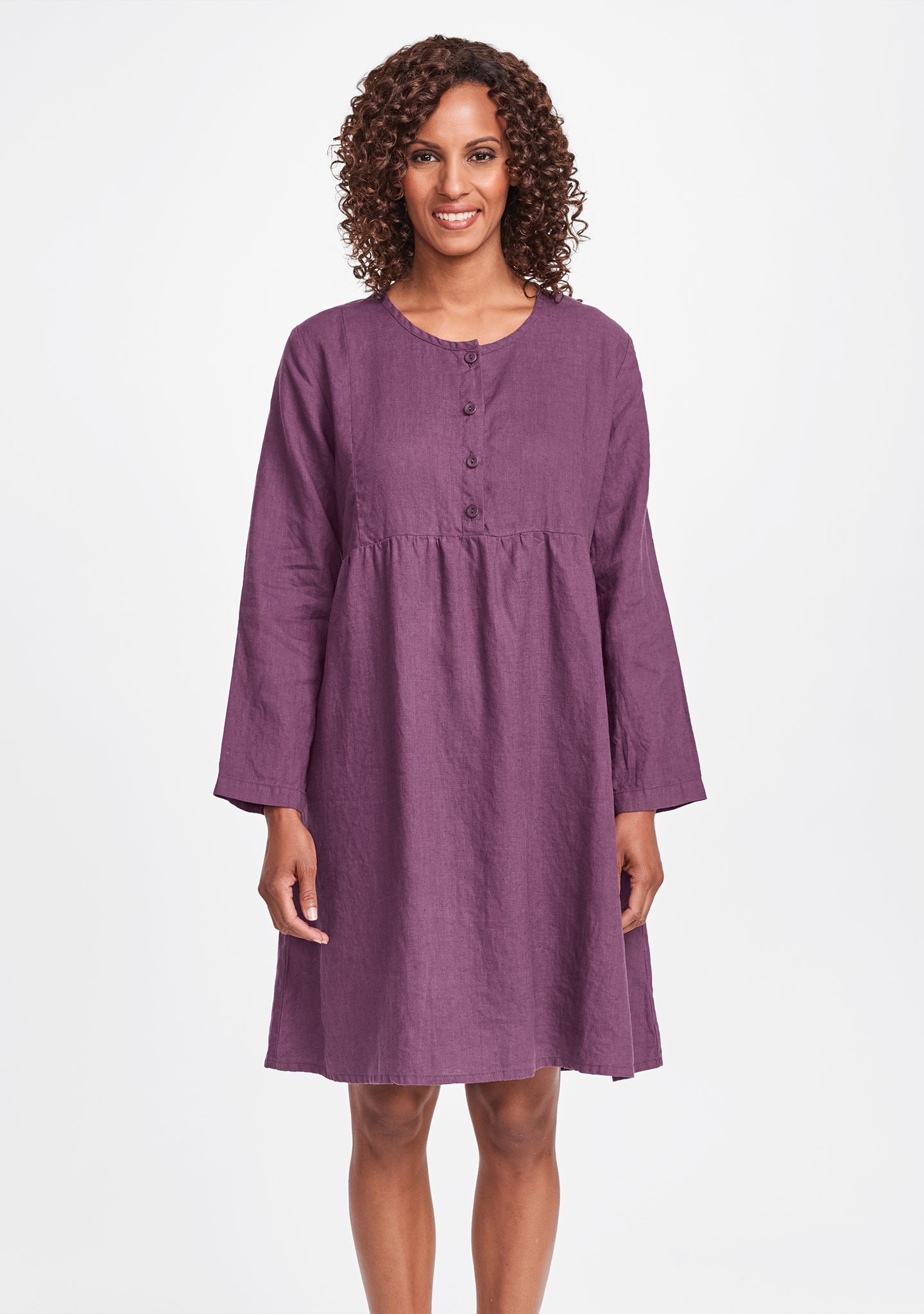 easy dress linen dress purple