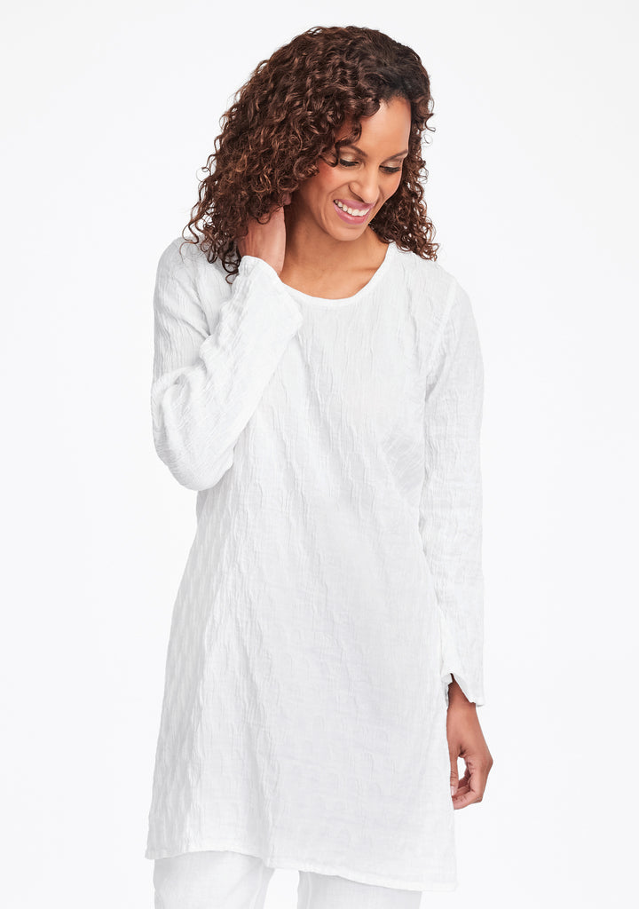 effortless tunic linen shirt white