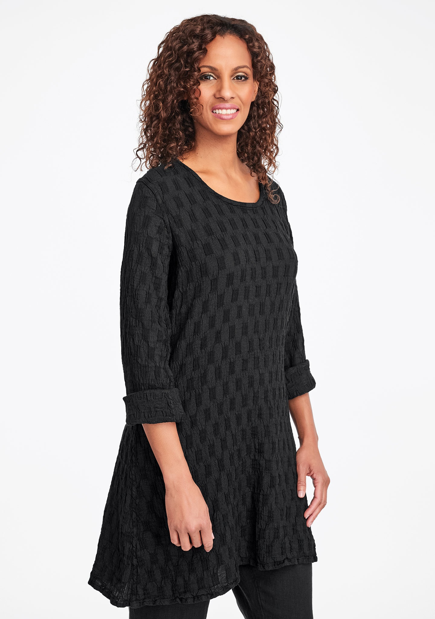 effortless tunic linen shirt black