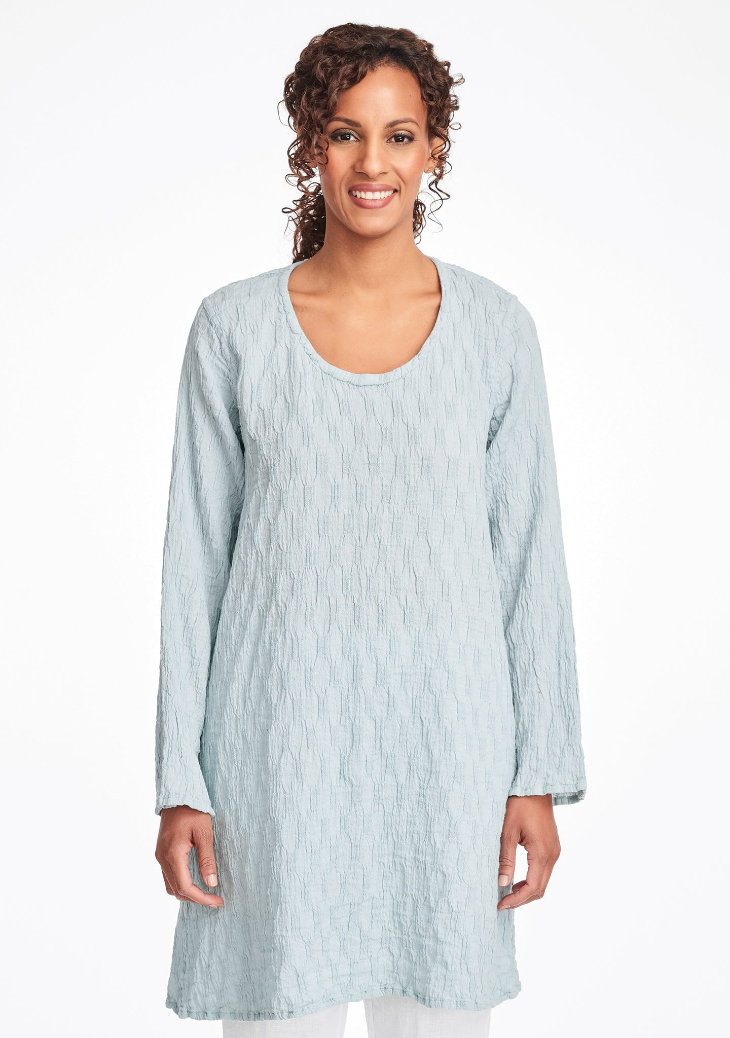 effortless tunic linen shirt blue