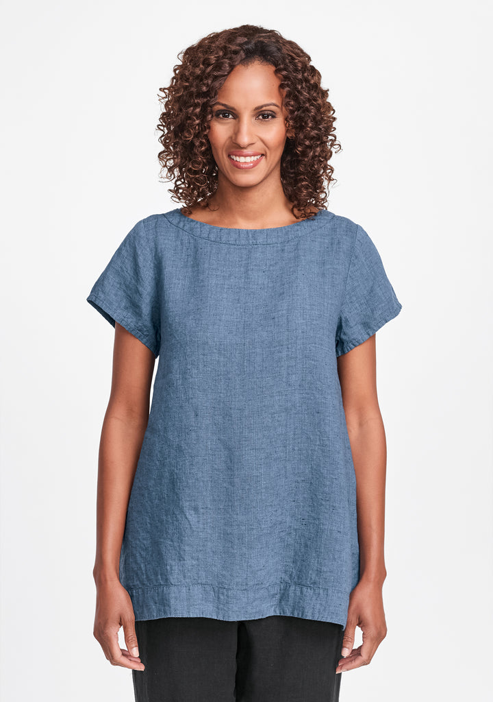 elite top linen t shirt blue