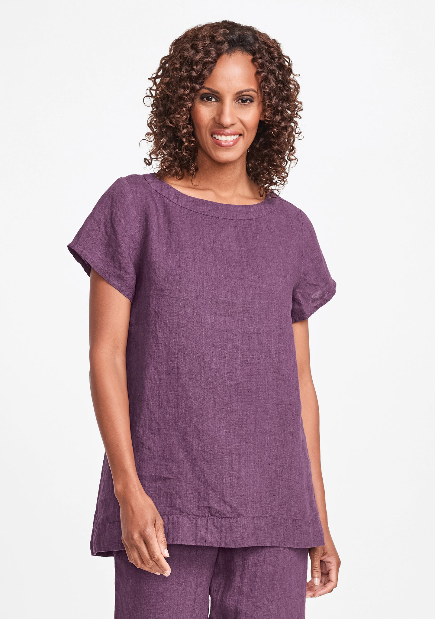 elite top linen t shirt purple