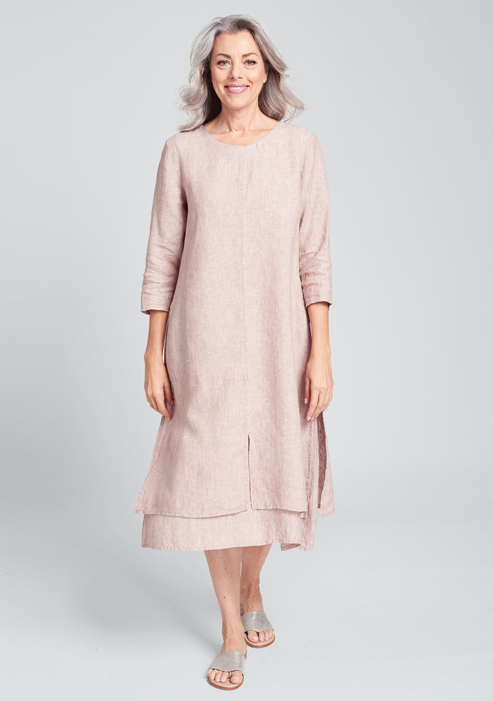 encore dress linen midi dress pink
