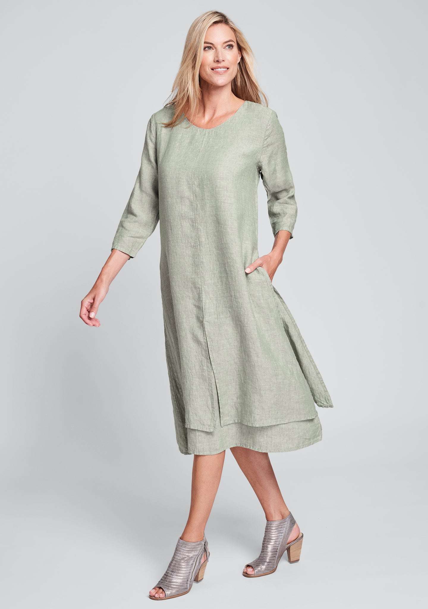 encore dress linen midi dress green