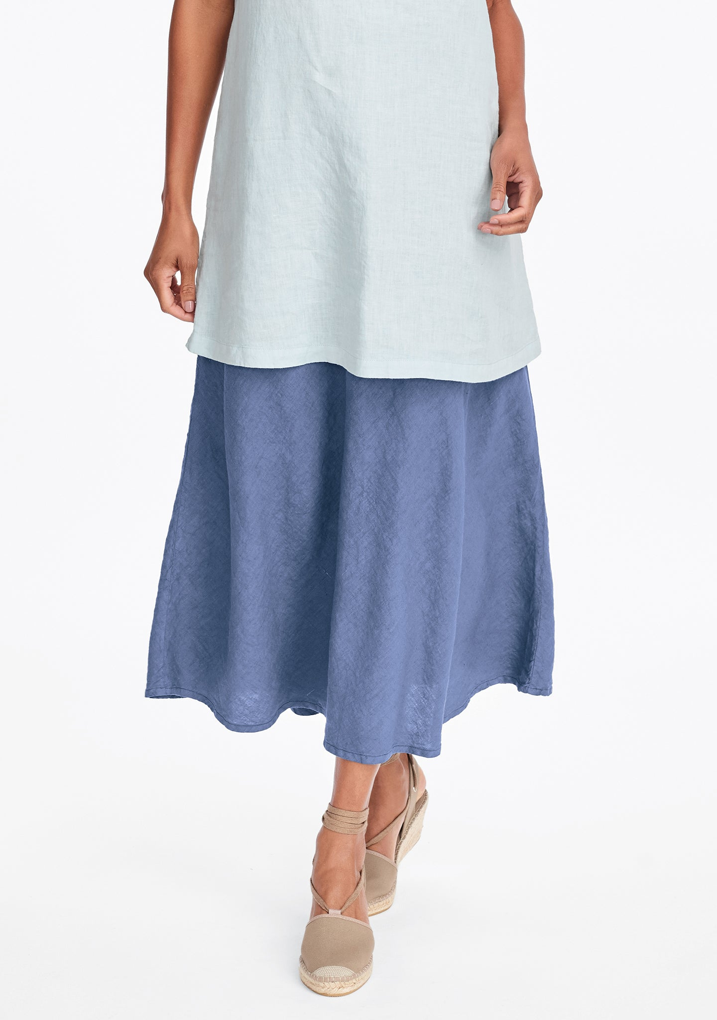 evening skirt linen maxi skirt blue