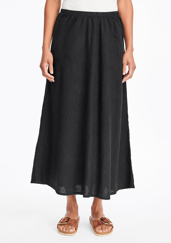 evening skirt linen maxi skirt black