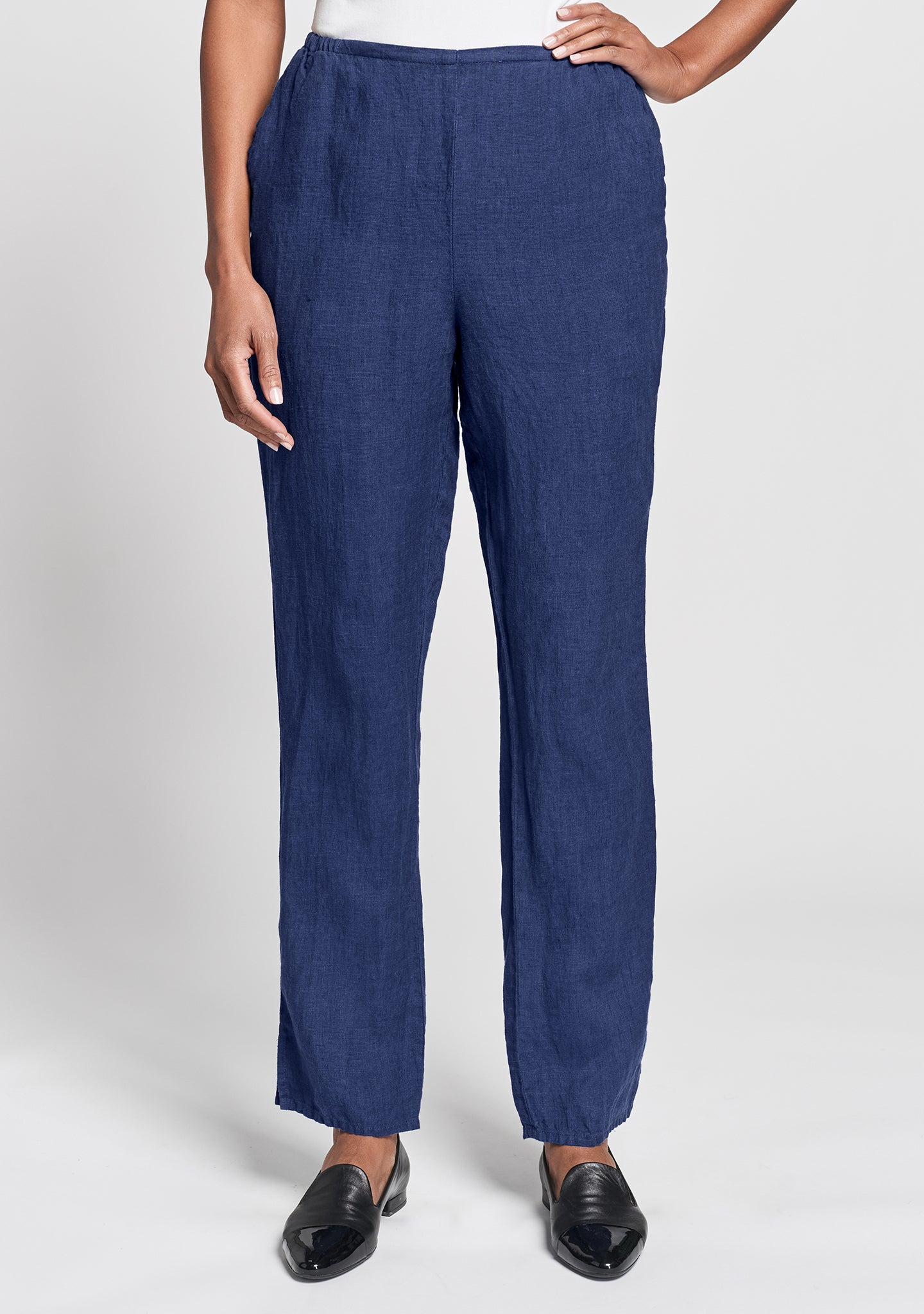 pocketed social pant linen pants with elastic waist blue