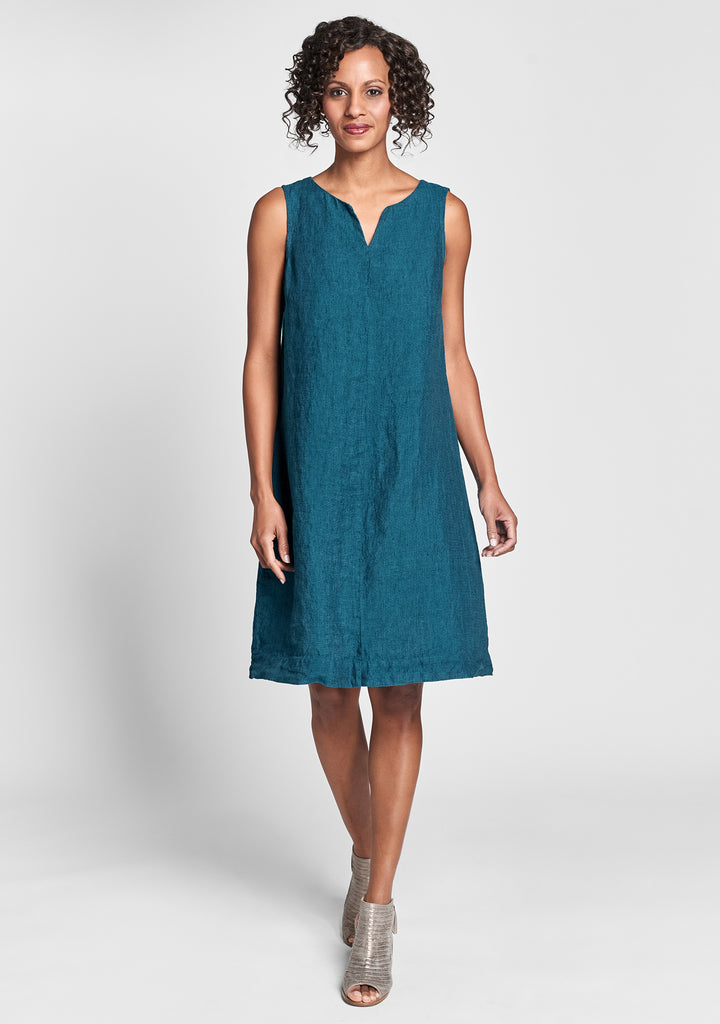 saturday shift linen dress green