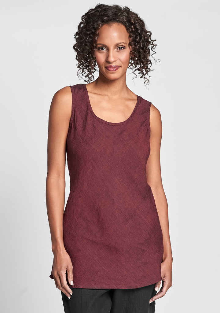splaying tank linen tank top red