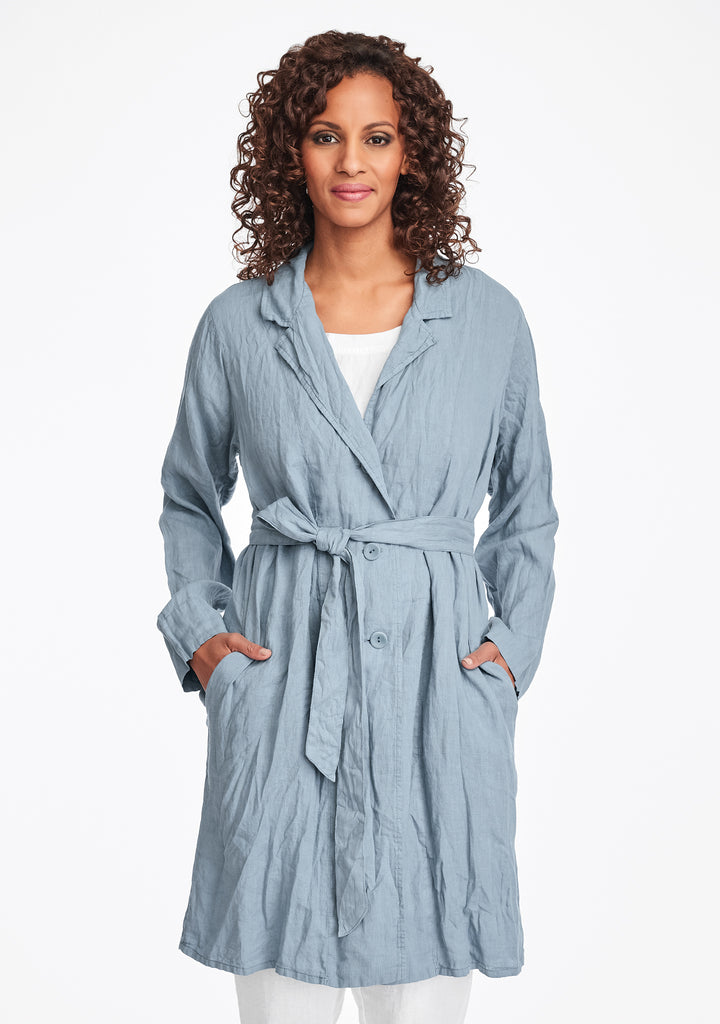 favorite jacket linen trench jacket blue