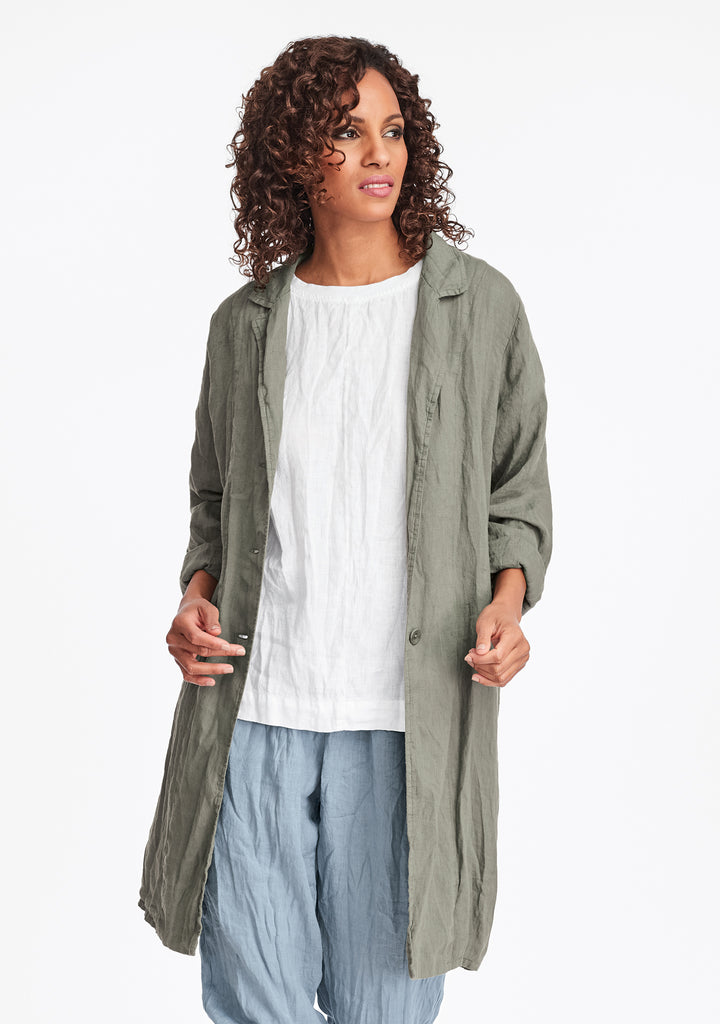 favorite jacket linen trench jacket green