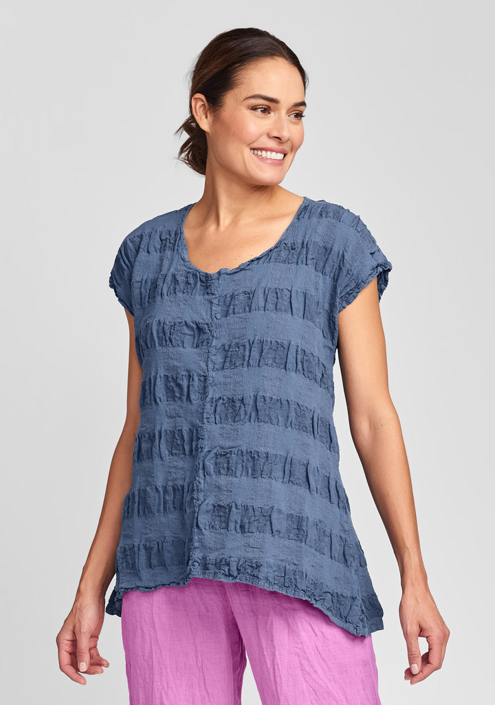 feather tee linen t shirt blue