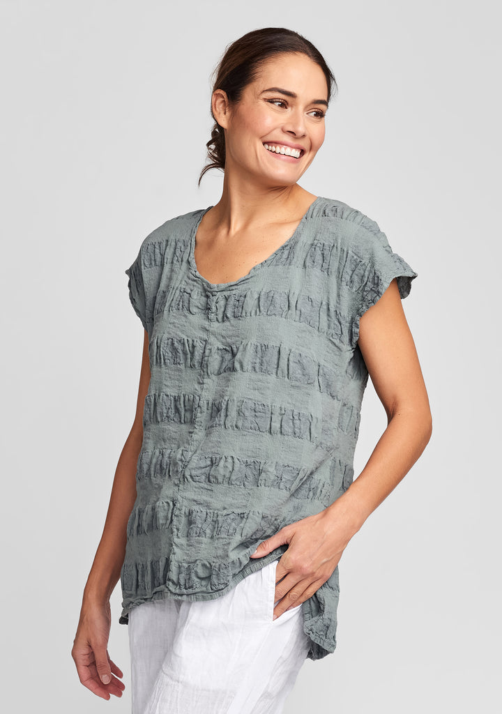 feather tee linen t shirt green
