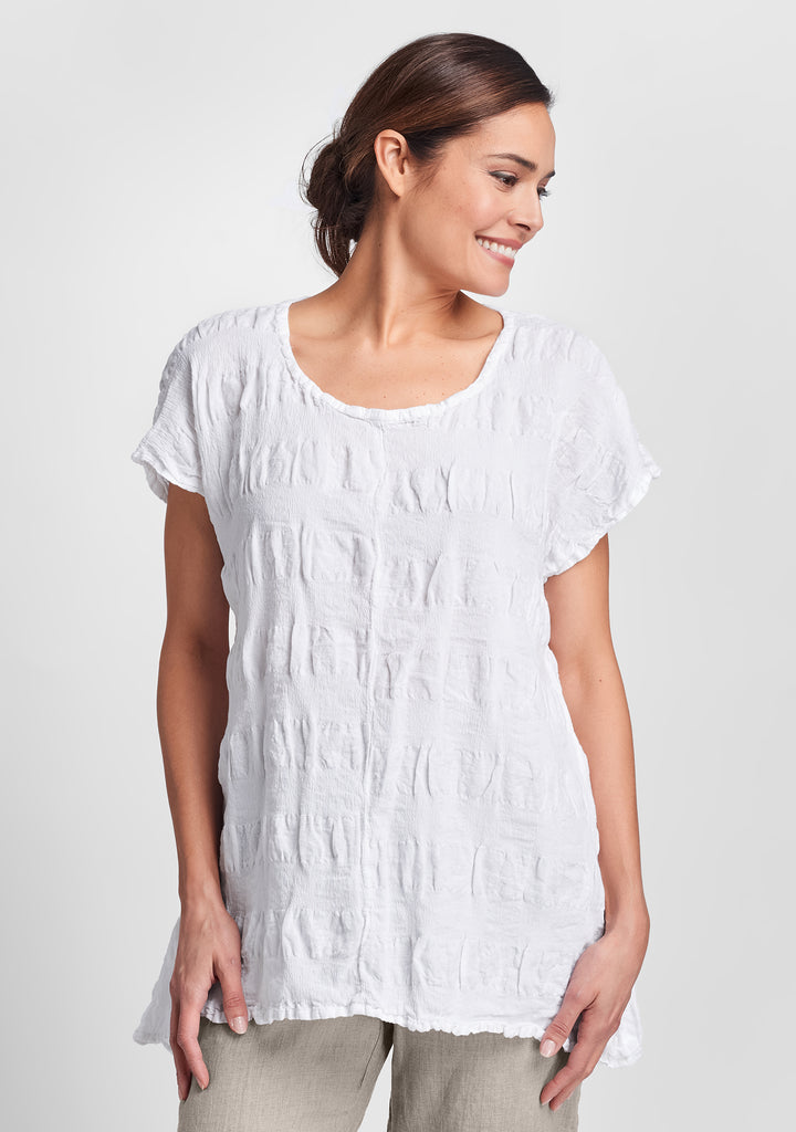 feather tee linen t shirt white
