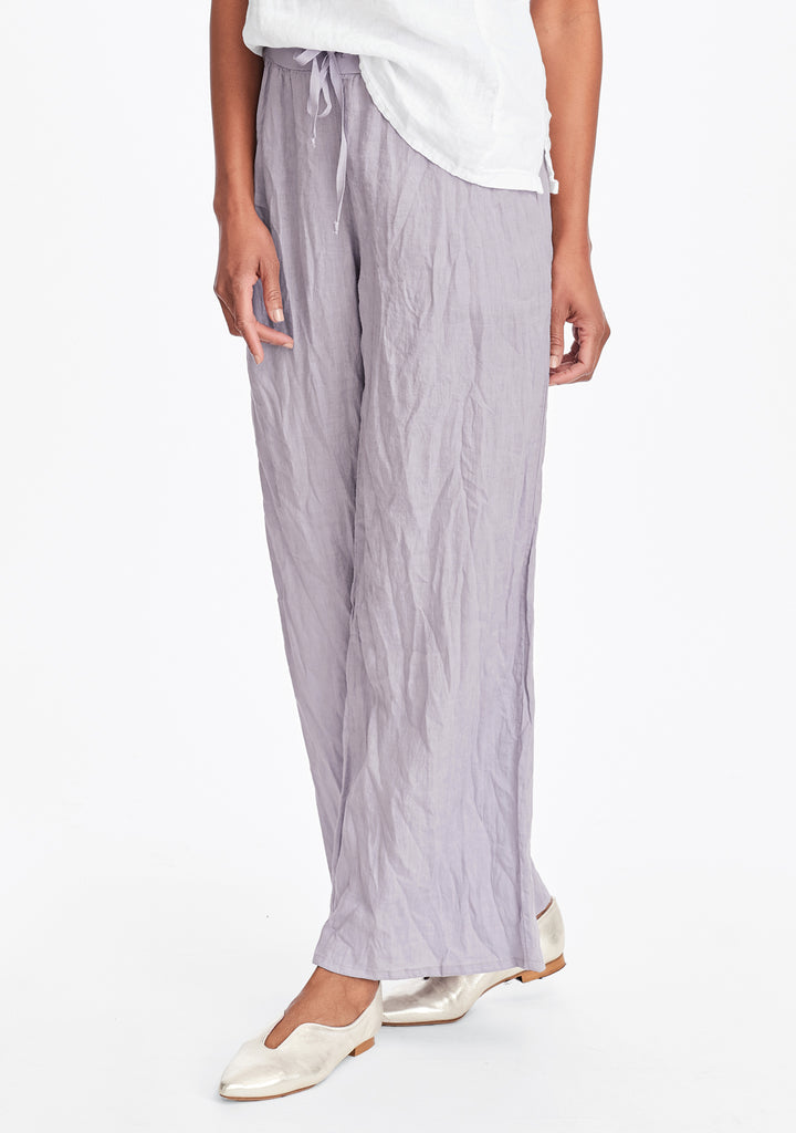flat iron pant linen drawstring pants purple