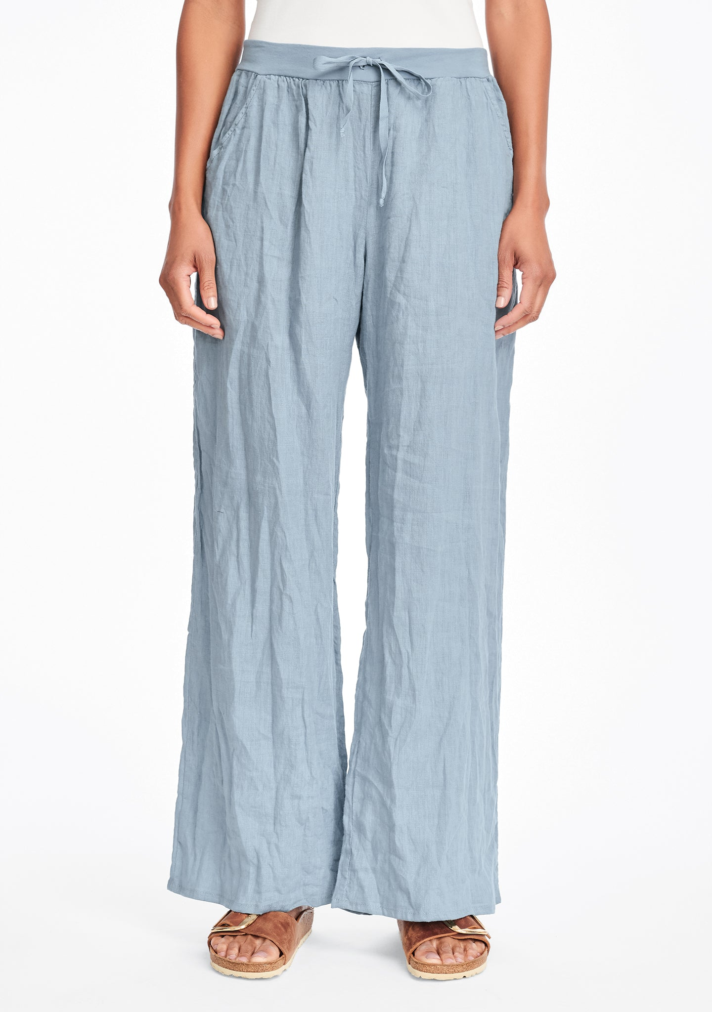 flat iron pant linen drawstring pants blue
