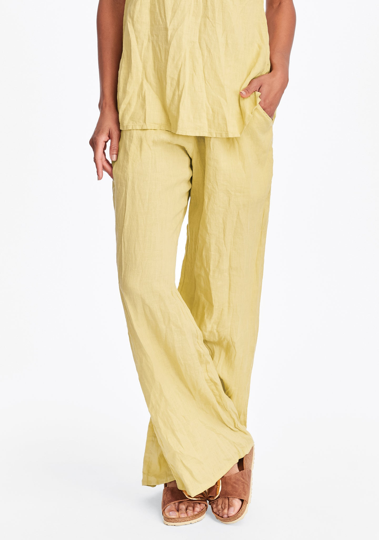 flat iron pant linen drawstring pants yellow