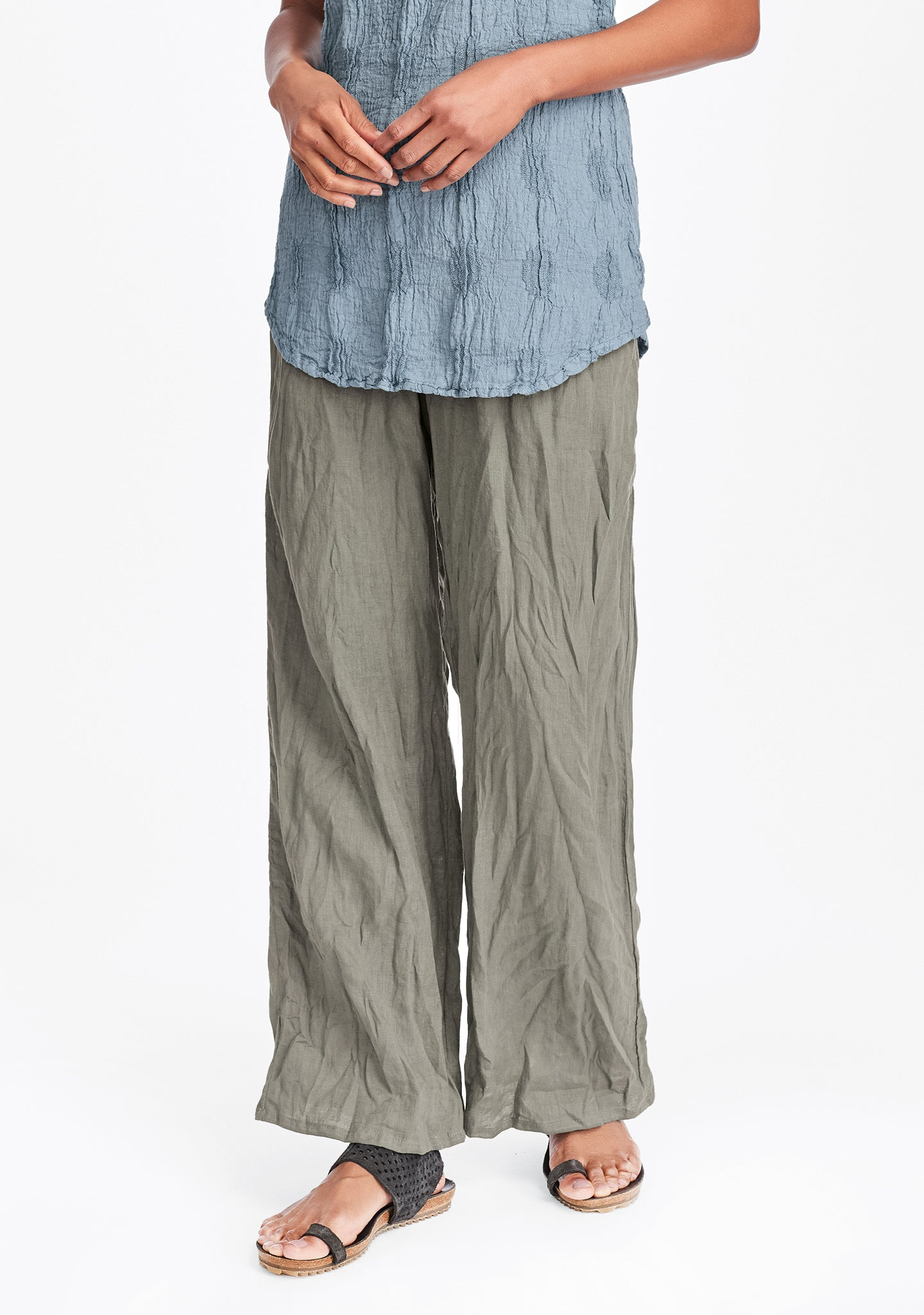 flat iron pant linen drawstring pants green