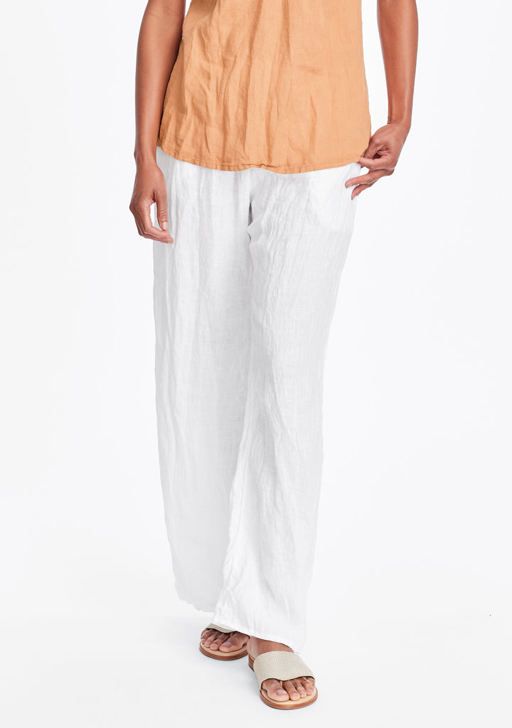flat iron pant linen drawstring pants white