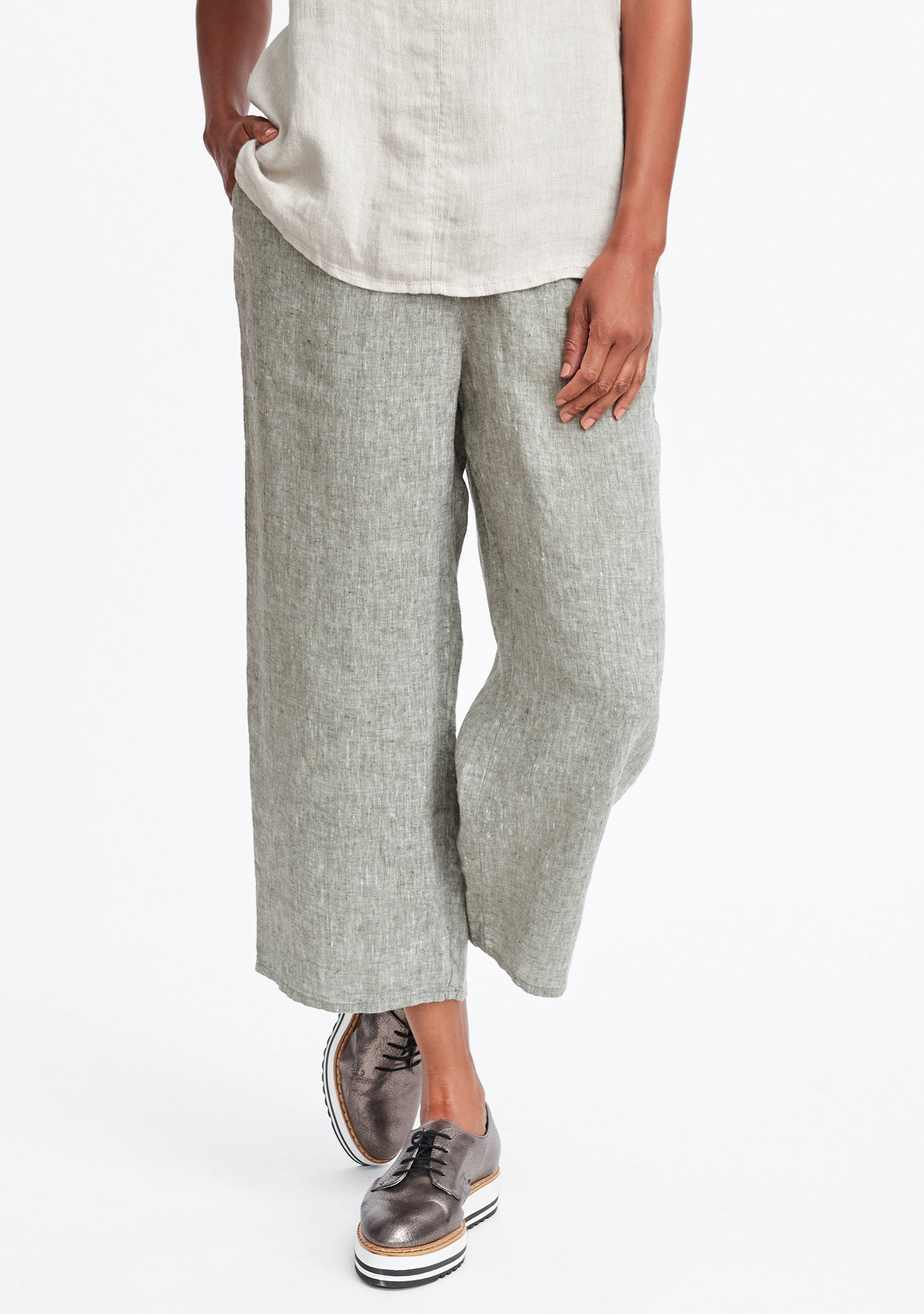floods linen pants with elastic waist green