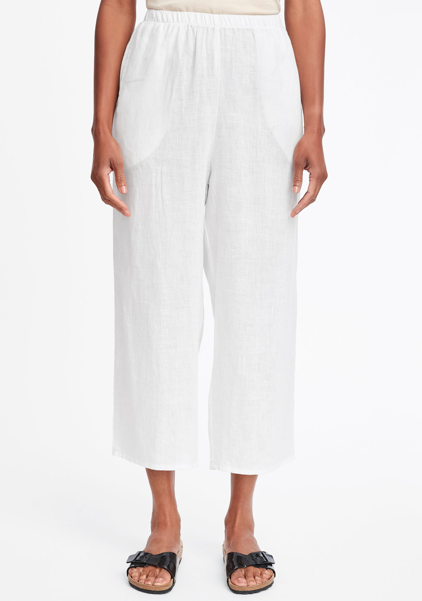 floods linen pants with elastic waist white