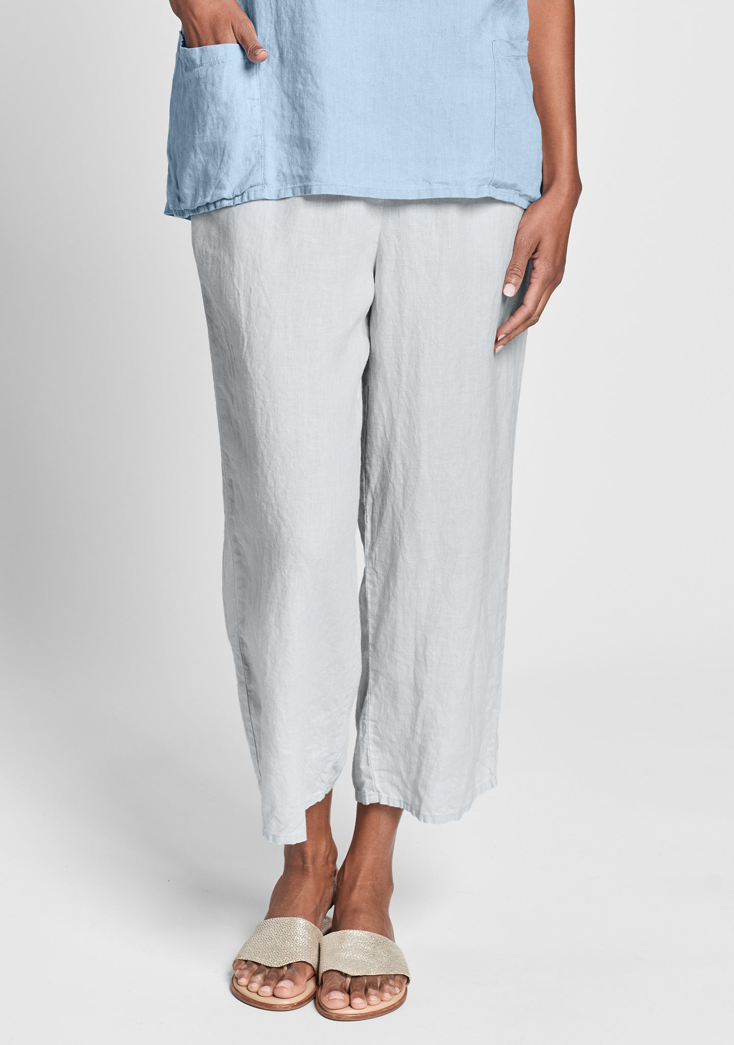 floods linen pants with elastic waist grey