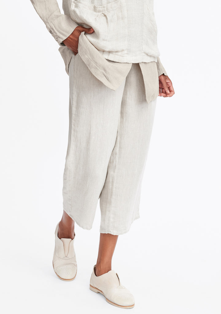 floods linen pants with elastic waist natural