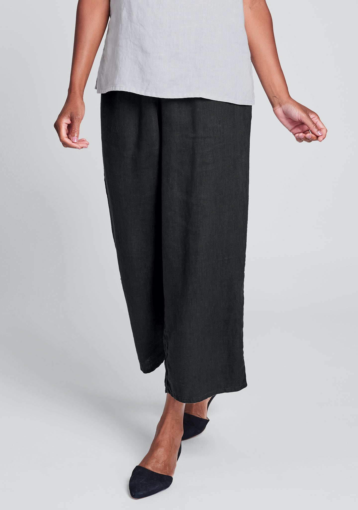 floods linen pants with elastic waist black