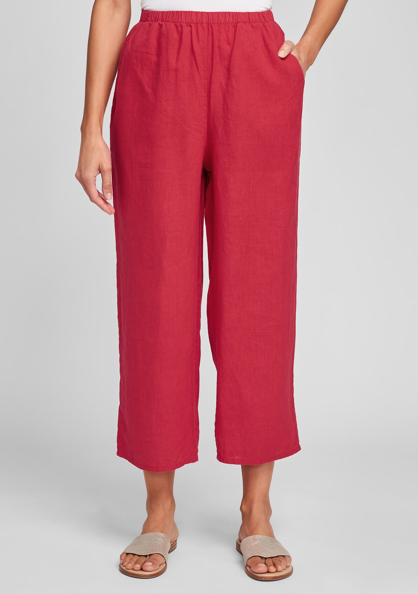 floods linen pants with elastic waist red