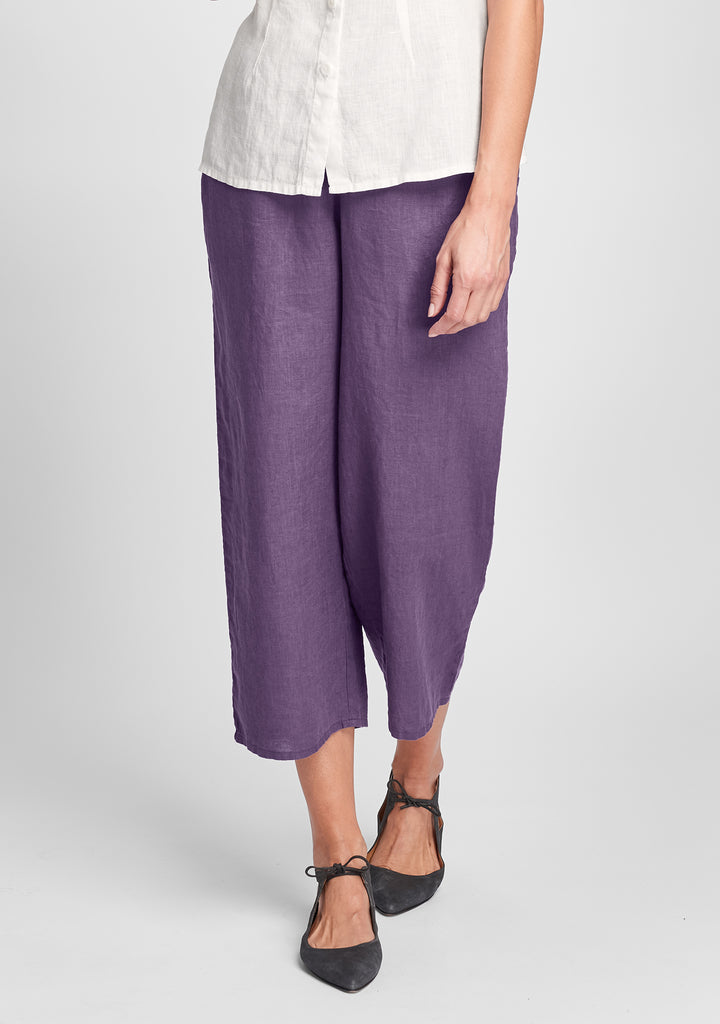 floods linen pants with elastic waist purple