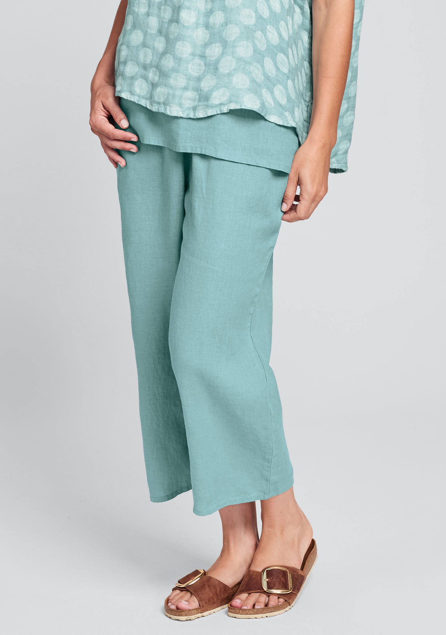 floods linen pants with elastic waist blue