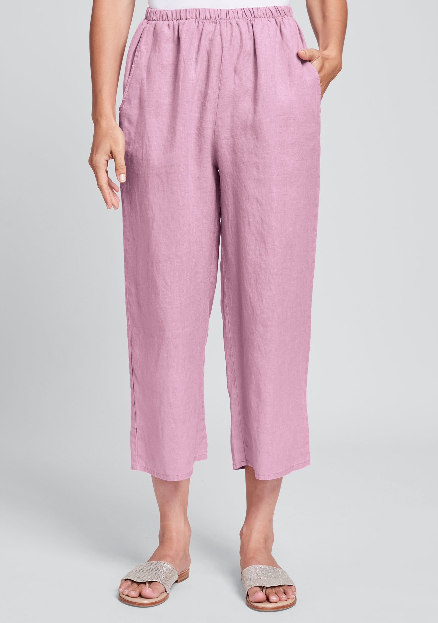floods linen pants with elastic waist pink