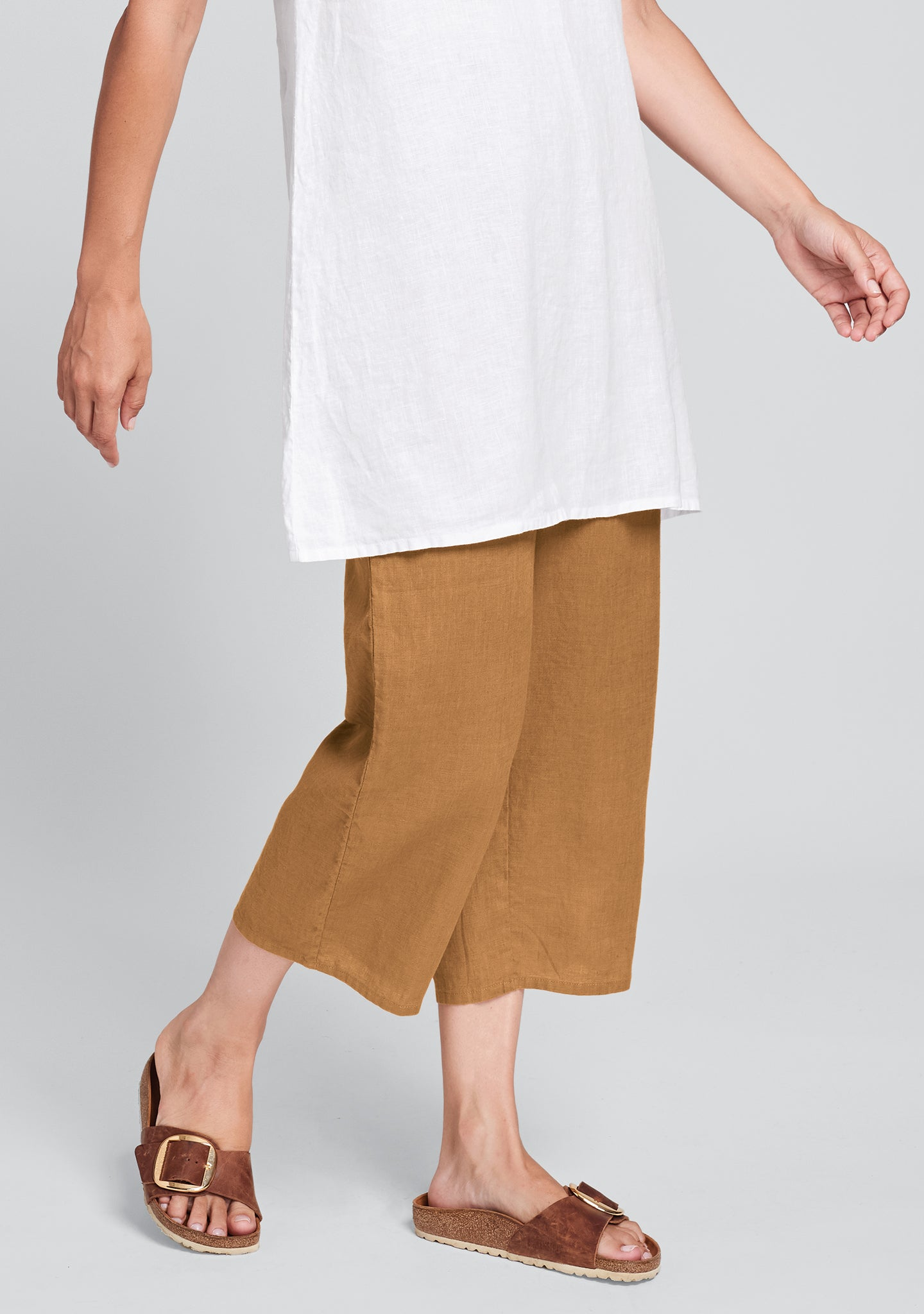 floods linen pants with elastic waist orange