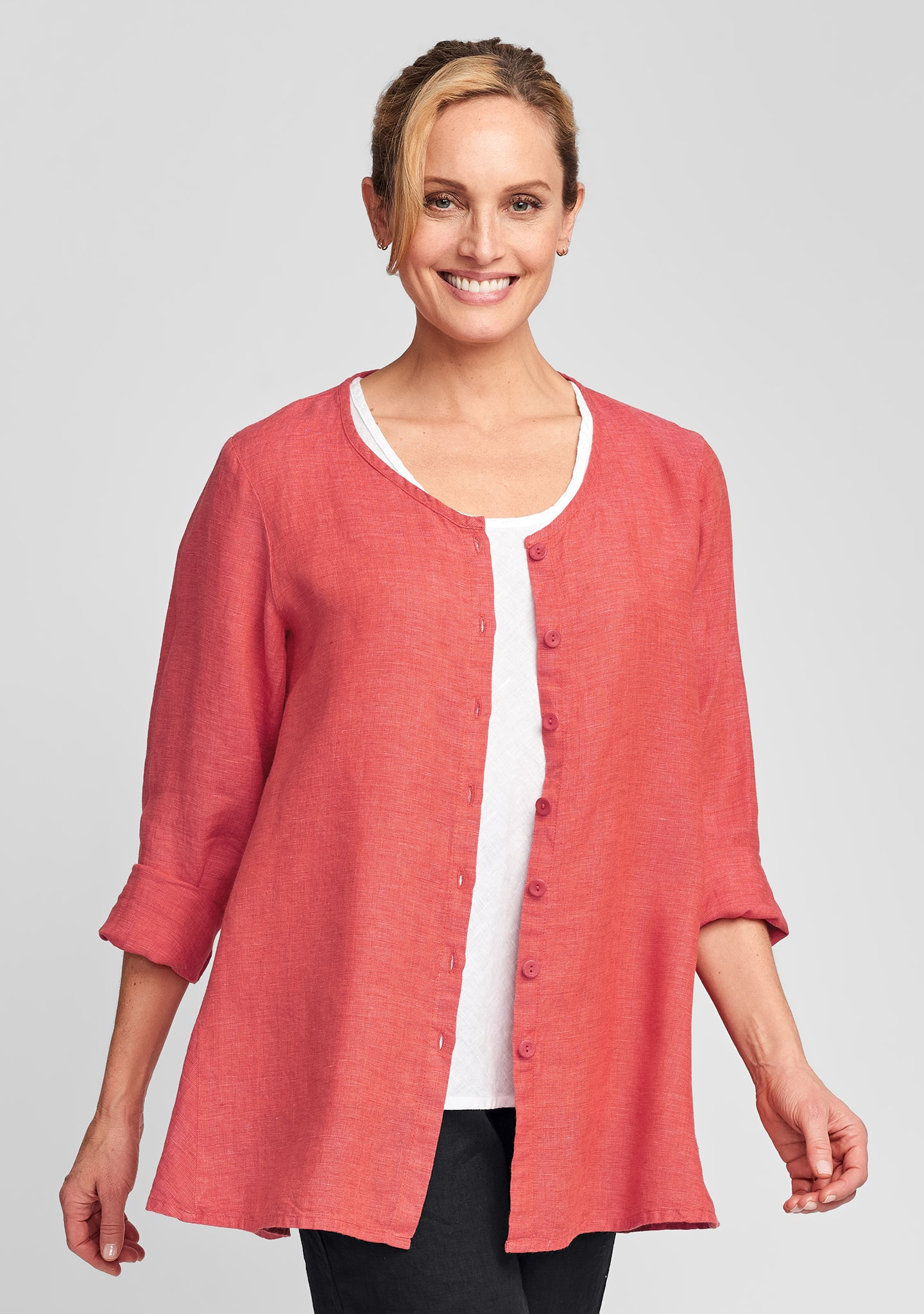 flourish cardi linen cardigan red