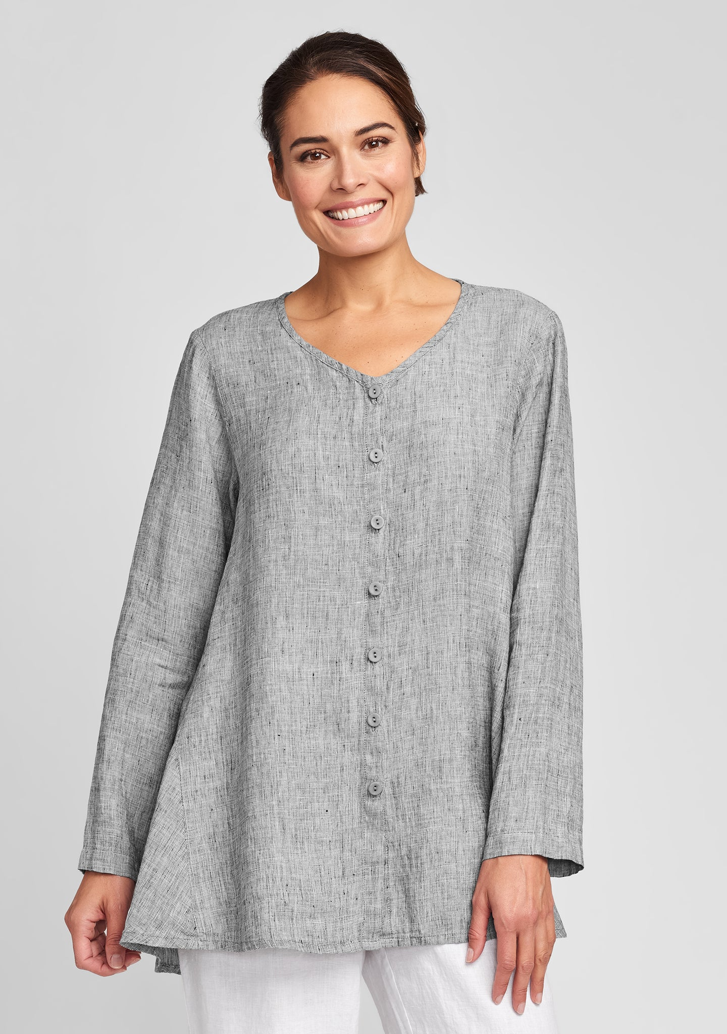 flourish cardi linen cardigan grey