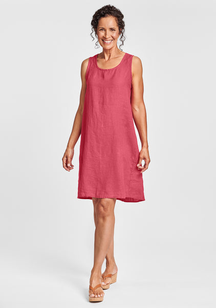 flourish dress linen shift dress red