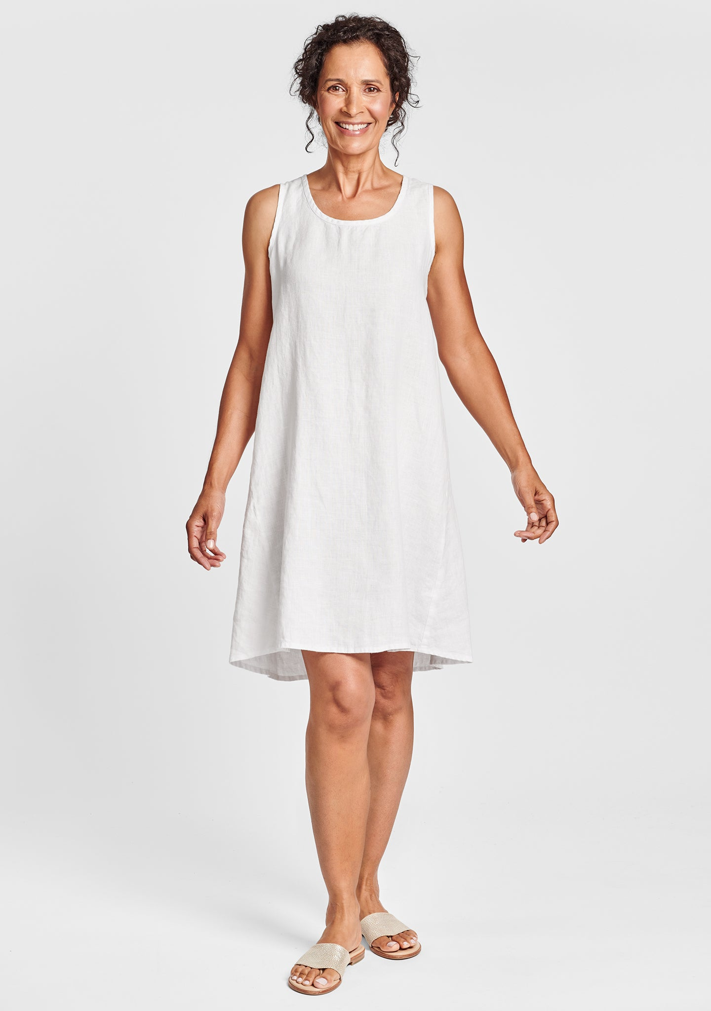 flourish dress linen shift dress white