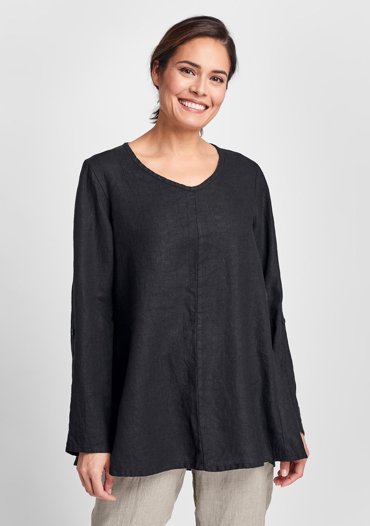 flourish pullover long sleeve linen shirt black