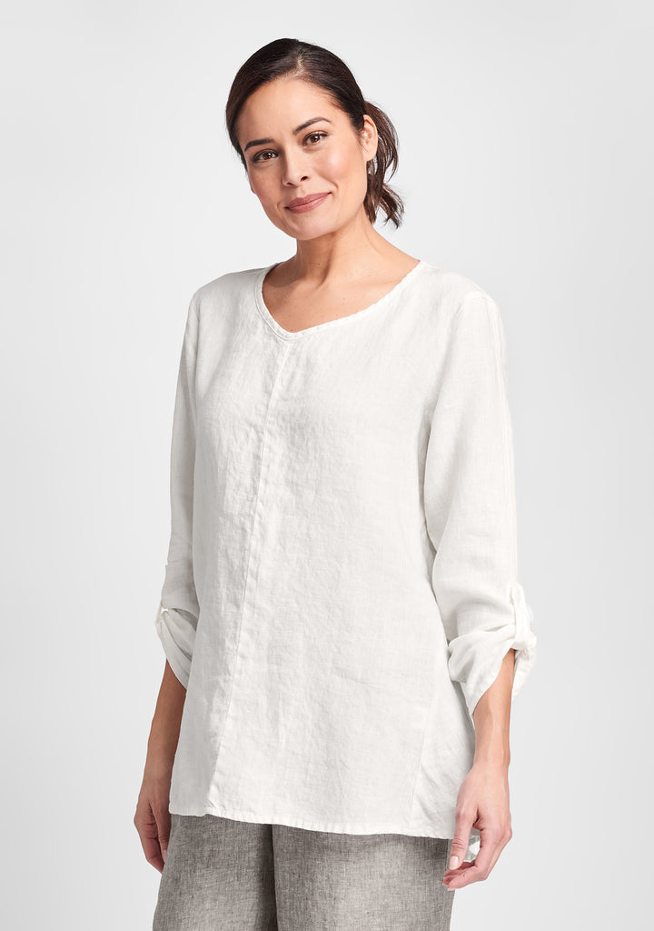 flourish pullover long sleeve linen shirt white