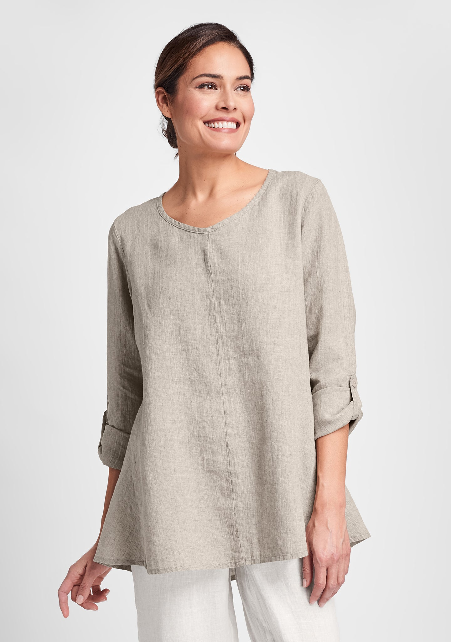 flourish pullover long sleeve linen shirt natural